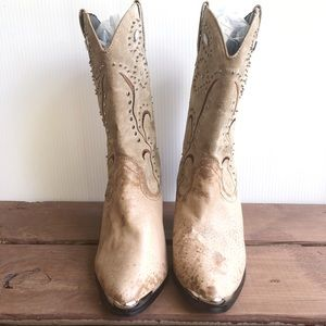 Dingo Shoes - Dingo Light Tan Leather Rhinestone Cowgirl Boots